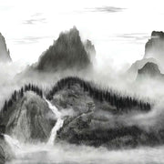 Majestic Mountains Peel and Stick Wallpaper Mural black