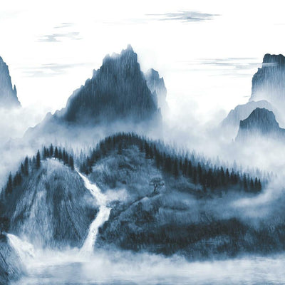 Majestic Mountains Peel and Stick Wallpaper Mural navy