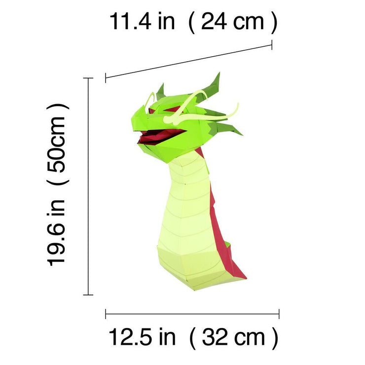 Dragon Paper Animal Head Trophy dimensions