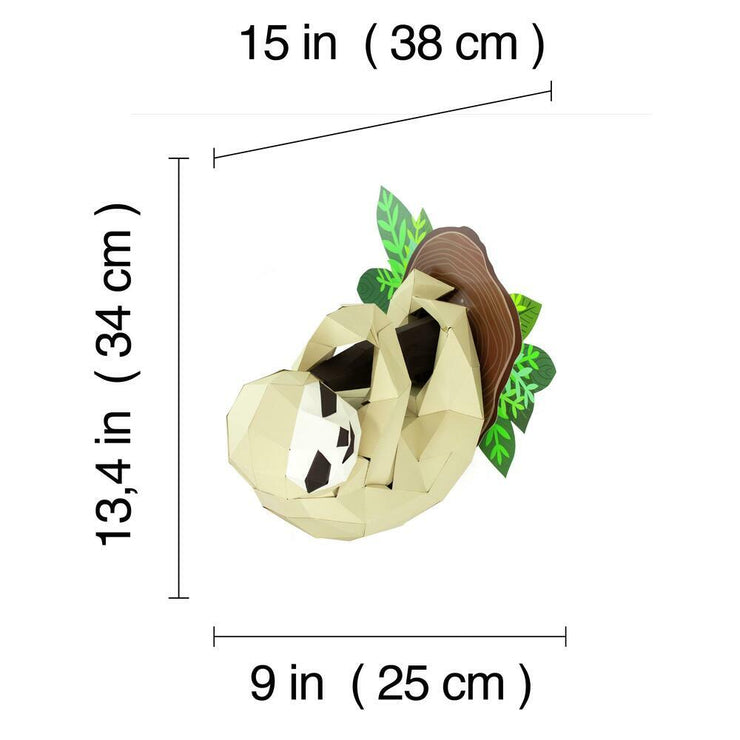 Sloth and Branch Paper Animal Head Trophy dimensions