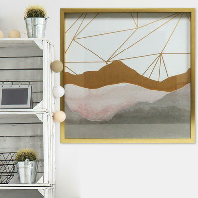 Watercolor Mountains Shadowbox - Blush roomset