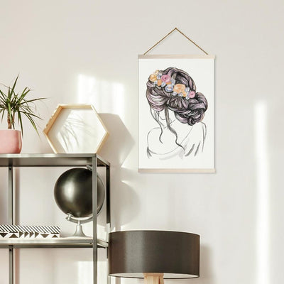 Messy Bun Illustration Wall Hanging roomset