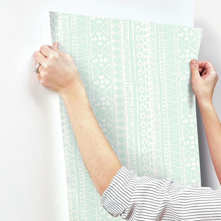 Tribal Peel and Stick Wallpaper hang