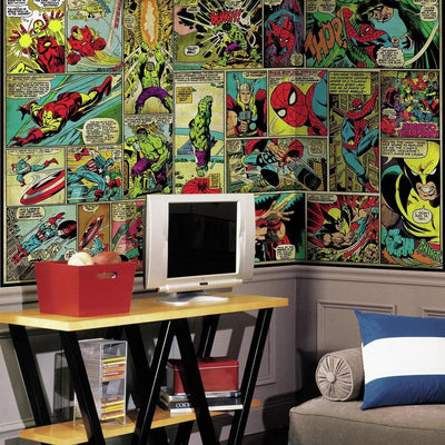 Marvel Classics Comic Panel XL Wallpaper Mural 10.5' x 6' roomset