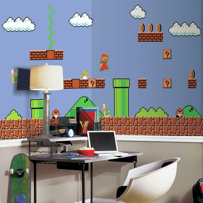 Super Mario Retro XL Prepasted Wall Mural 6' x 10.5' roomset