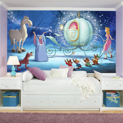 Disney Princess Cinderella Carriage XL Wallpaper Mural 10.5' X 6' roomset