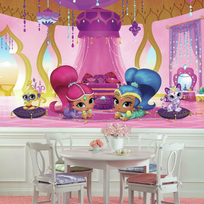 Shimmer and Shine Genie Palace XL Chair Rail Prepasted Wall Mural roomset