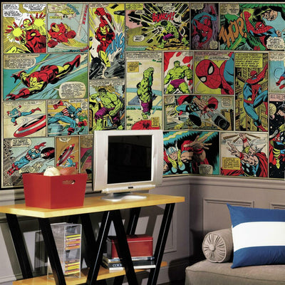 Marvel Comic Panel XL Wall Mural 10.5' X 6' roomset