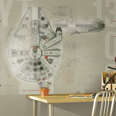 Star Wars Millennium Falcon Wallpaper Mural roomset