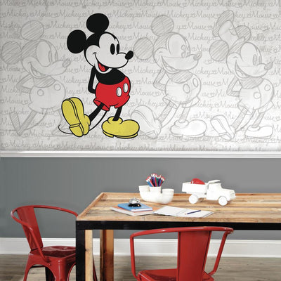 Classic Mickey Wallpaper Mural 10.5' X 6' roomset