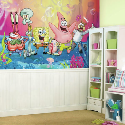 Spongebob Squarepants XL Prepasted Wall Mural 6' x 10.5' roomset