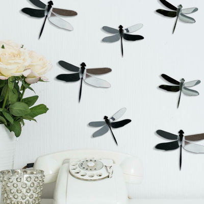 3D Gray Dragonflies Peel & Stick Mirrors roomset