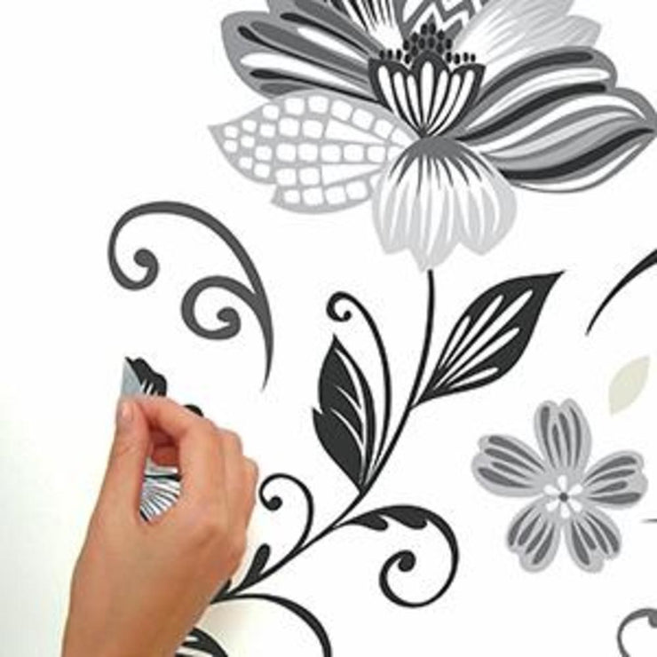 Black and White Flower Scroll Peel and Stick Giant Wall Decals peel