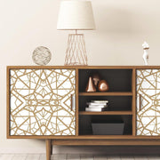 Shattered Geometric Peel and Stick Wallpaper white roomset 4