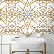 Shattered Geometric Peel and Stick Wallpaper white roomset