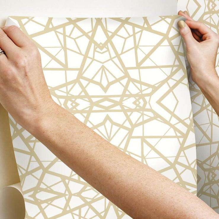 Shattered Geometric Peel and Stick Wallpaper white hang