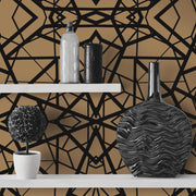Shattered Geometric Peel and Stick Wallpaper black roomset 2