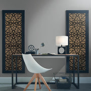 Shattered Geometric Peel and Stick Wallpaper black roomset 3