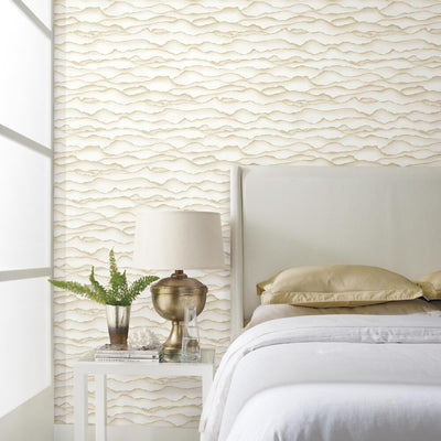 Singed Peel and Stick Wallpaper gold roomset