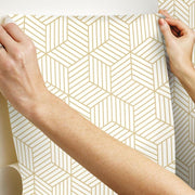 Striped Hexagon Peel and Stick Wallpaper gold hang