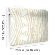 Striped Hexagon Peel and Stick Wallpaper gold dimensions