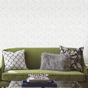 Striped Hexagon Peel and Stick Wallpaper gray roomset