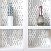 Striped Hexagon Peel and Stick Wallpaper gray roomset 2