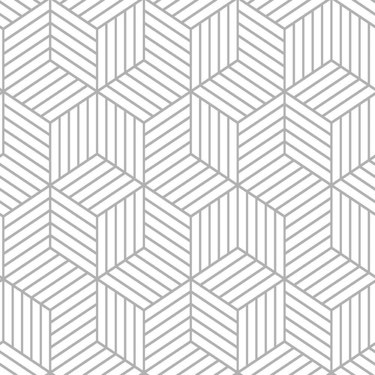 Striped Hexagon Peel and Stick Wallpaper gray