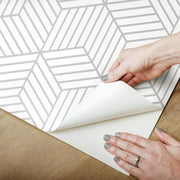 Striped Hexagon Peel and Stick Wallpaper gray peel