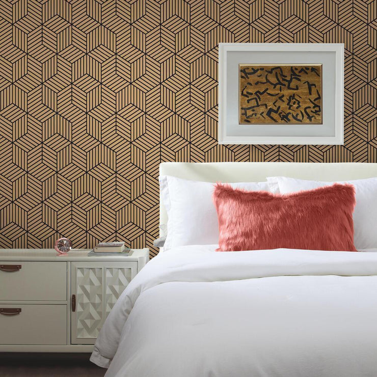 Striped Hexagon Peel and Stick Wallpaper black roomset 2