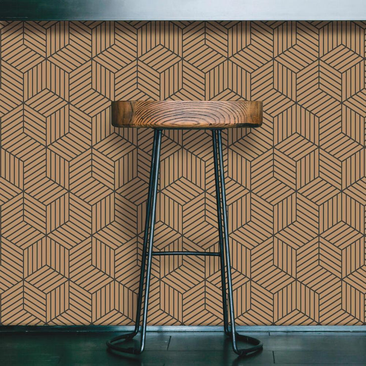 Striped Hexagon Peel and Stick Wallpaper black roomset 3
