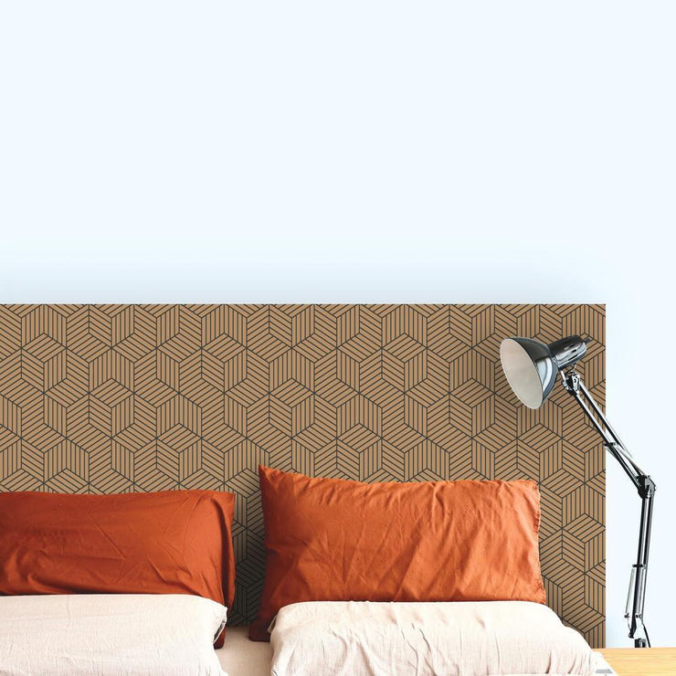 Striped Hexagon Peel and Stick Wallpaper black roomset 4