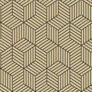 Striped Hexagon Peel and Stick Wallpaper black