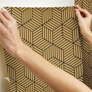 Striped Hexagon Peel and Stick Wallpaper black hang