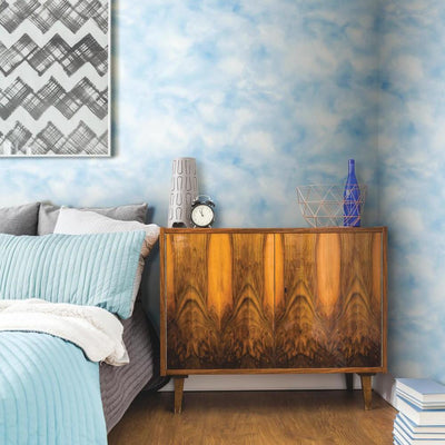 Cloud Peel and Stick Wallpaper teal roomset