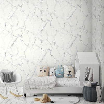 RMK10839WP Carrara Marble Peel And Stick Wallpaper