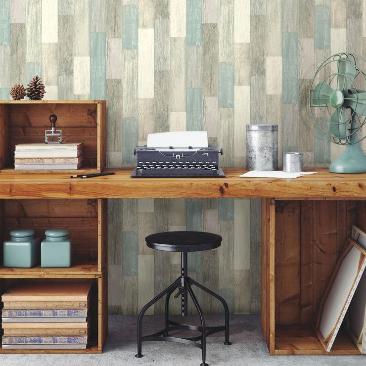 RMK10840WP Blue Weathered Wood Peel And Stick Wallpaper RS4