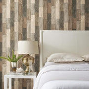 RMK10841WP Brown Weathered Wood Plank Peel And Stick Wallpaper RS2