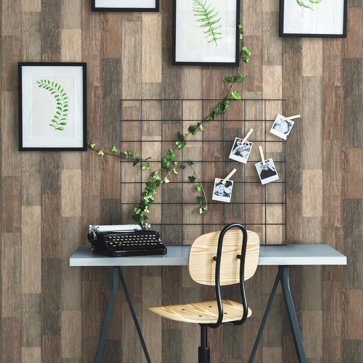 RMK10841WP Brown Weathered Wood Plank Peel And Stick Wallpaper RS3