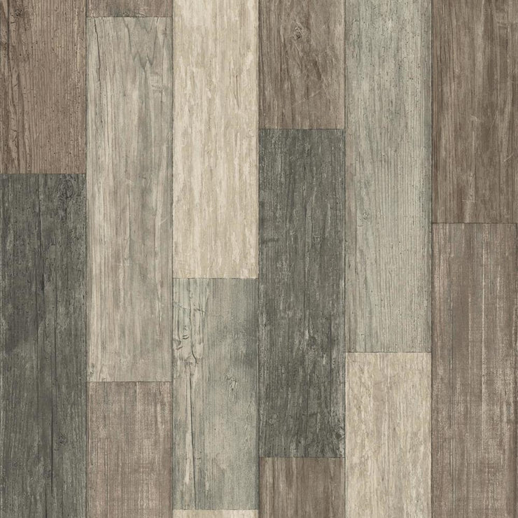 RMK10841WP Brown Weathered Wood Plank Peel And Stick Wallpaper