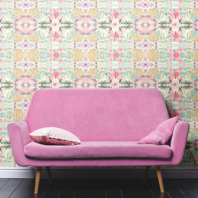Synchronized Floral Pink Peel and Stick Wallpaper roomset