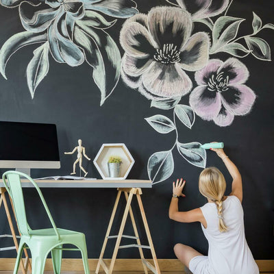Chalkboard Peel and Stick Wallpaper roomset 4