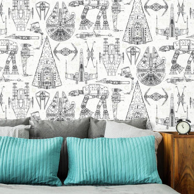 Star Wars Blueprint Peel & Stick Wallpaper roomset