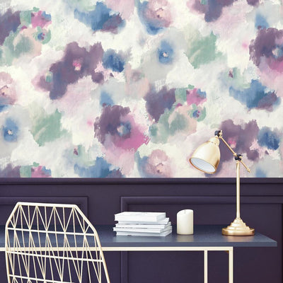 Impressionist Floral Peel and Stick Wallpaper roomset