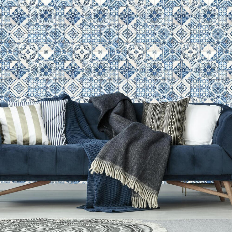 Mediterranean Tile Peel and Stick Wallpaper blue roomset