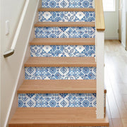 Mediterranean Tile Peel and Stick Wallpaper blue roomset 2
