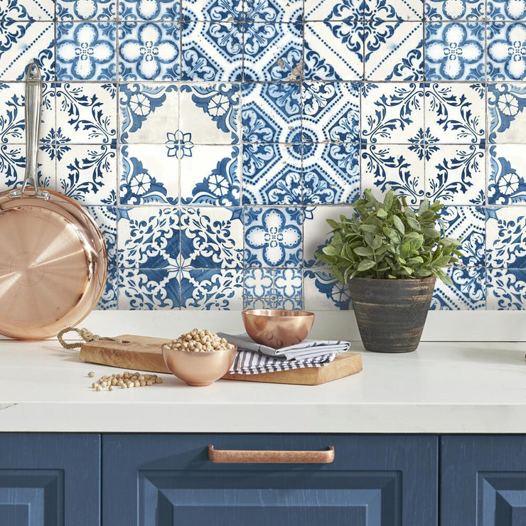 Mediterranean Tile Peel and Stick Wallpaper blue roomset 4