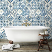 Mediterranean Tile Peel and Stick Wallpaper blue roomset 5