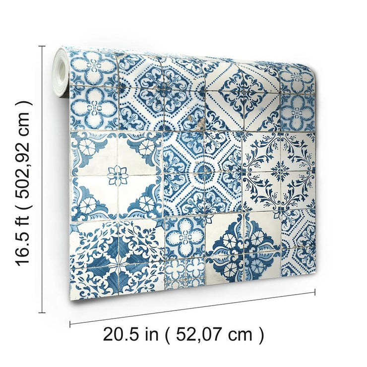 Mediterranean Tile Peel and Stick Wallpaper blue roll
