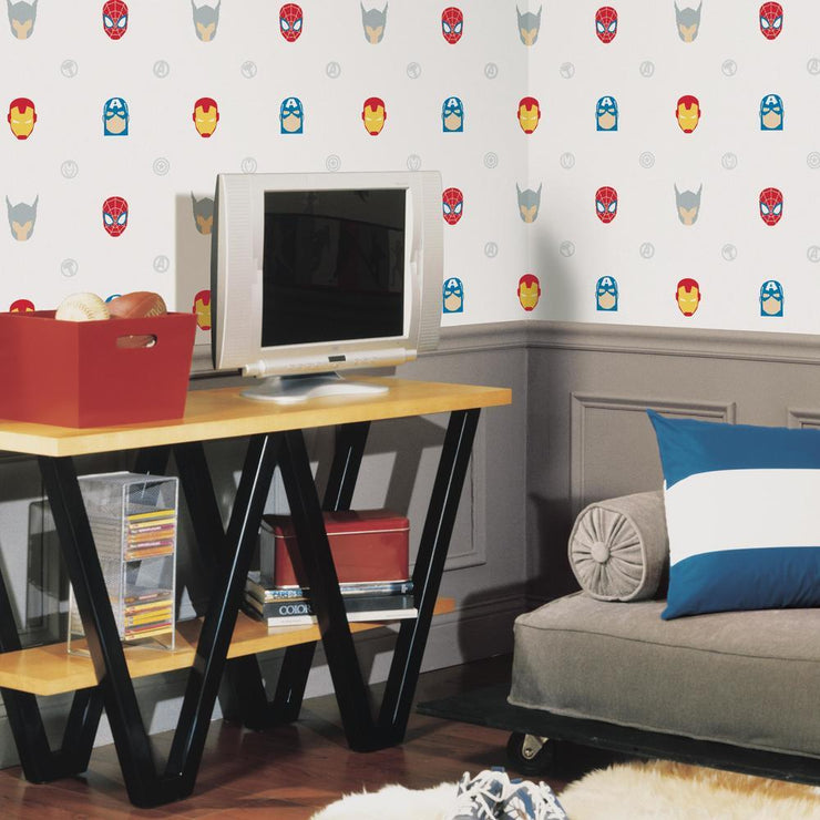 Avengers Character Spot Peel and Stick Wallpaper roomset 3